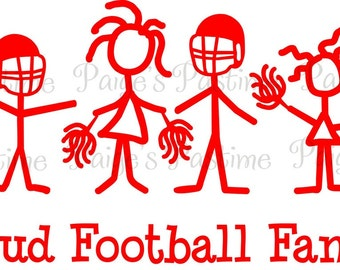 Personalized Family Decal Proud Football - Football Family Decal - Football Family Sticker - Proud Football Family Decal