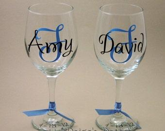 Wine Glasses Personalized - Toasting Wine Glasses - Wedding Glasses - Monogrammed Wine Glasses - Anniversary Wine Glass - Wine Glass