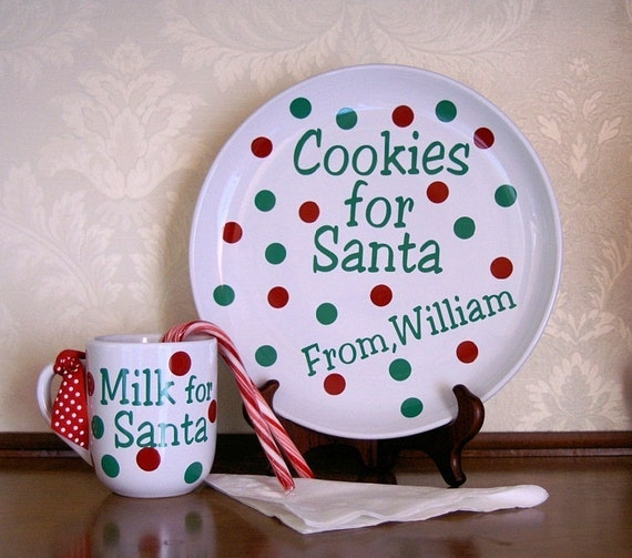 SALE Cookies and Milk for Santa Personalized Plate with Mug