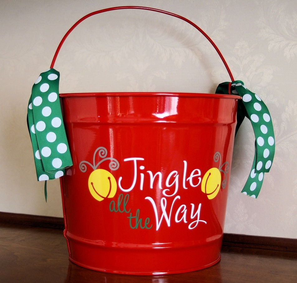 christmas bucket by paigespastime on etsy