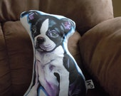 Boston Terrier Plushie Pillow Blue outline--Made to order