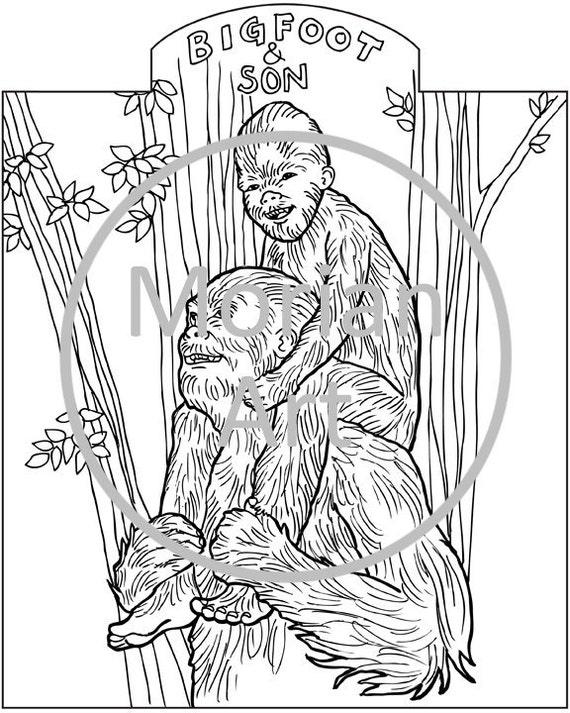 printable bigfoot coloring pages - items similar to bigfoot printable coloring page on etsy