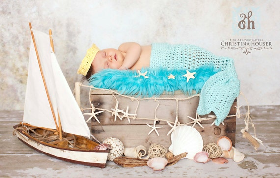 Newborn to 3 Month Mermaid Tail with Crown Photo Prop