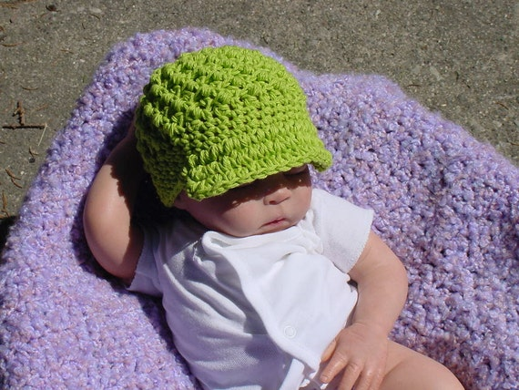 Newsboy Newsgirl  Hat for Baby with visor,  Newborn to 3 Months