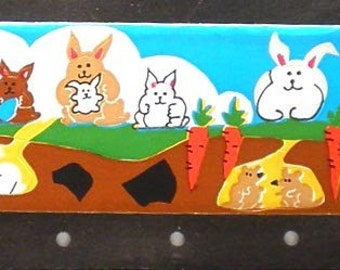 rabbits easter Crayon Rays vintage 80s stickers (s1105 )
