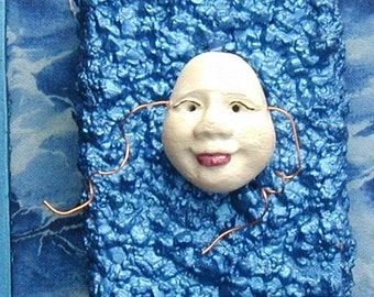 HALLOWEEN DECOR  Handmade Mask miniature white on blue