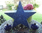 "Vintage Salvaged Mica Star Large Blue Stage Prop 22"" x 23"""