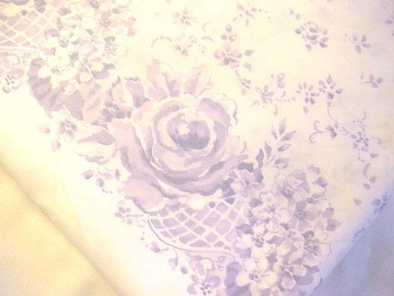 Lavender Roses Violets and Flower Basket Cotton Pillowcase Fabric Almost 2 Yds Bouquet de Fleurs by Daisy Kingdom