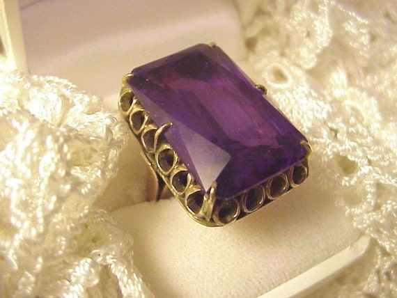 Vintage Alexandrite Ring Huge Emerald Cut Color By Mymagicmoon