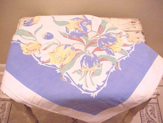"Vintage Tablecloth Cutter Blue Yellow Tulips  48"" x 50"""