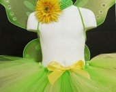 Tinkerbell Inspired Tutu Costume - For Halloween, Dress Up, Photos, Birthdays  - up to child size 8