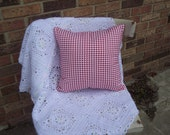Red and White Houndstooth cotton print pillow