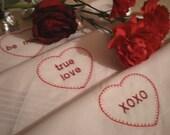 SALE Valentines Hearts Hankies  Valentines Day Heart Candies Gift Set of 3 - Dad Husband Boyfriend