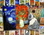 Monet and Van Gogh Art Domino size 2 x 1 inches for pendant, scrapbook and more - Digital Collage Sheet No.752