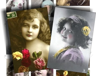 Vintage girls pictures for cards, ACEO, ATC, scrapbook and more Digital Collage Sheet 3 X 2 inch No.301