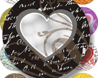 Handwritten Hearts images large circles for pocket mirrors and more digital collage sheet No.215
