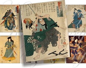 Vintage Samurai images for cards, ACEO, scrapbook and more Digital Collage Sheet 2.5 X 3.5 inch No.230