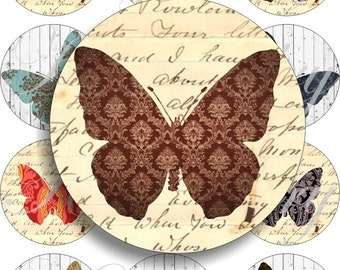 Funny Butterflies in large circles for pocket mirrors and more -digital collage sheet no. 317