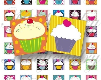 Cute cupcakes 1x1 inch for pendant, scrapbook and more collage sheet No.105