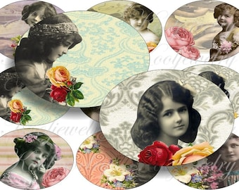 Amazing girl in images large oval for belt buckle and more digital collage sheet No.406