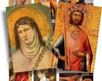 Religious images for cards, ACEO, ATC, scrapbook and more Digital Collage Sheet 3 X 2 inch No.386