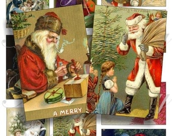 Vintage Santa images for cards, ACEO, ATC, scrapbook and more Digital Collage Sheet 3 X 2 inch No.458
