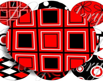 Black, White and Red images large oval for belt buckle and more digital collage sheet No.473