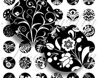 Black and white images for bottle caps, pendant, buttons, scrapbook and more Vintage Digital Collage Sheet No.322