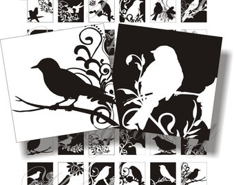 Birds black and white 1x1 inch for pendant, scrapbook and more Digital Collage Sheet No.177