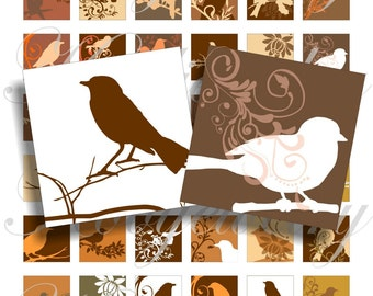 Chocolat birds images 1x1 inch for pendant, scrapbook and more collage sheet No.418