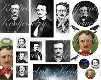 Edgar Allan Poe images in different sizes for ATC, ACEO and more digital collage sheet No.422
