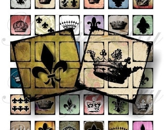 Medieval Crowns and flour de lis 1x1 inch for pendant, scrapbook and more Digial Collage Sheet No.64