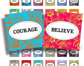 Damask inspirational words 1x1 inch images for pendant or scrapbook Digital Collage Sheet No.408