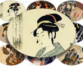 Geishas images large circles for pocket mirrors and more digital collage sheet No.506