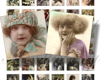 Vintage children 1x1 inch images for pendant, scrapbook and more Digial Collage Sheet No.69