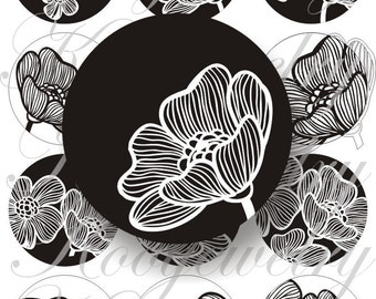 Black and White Flowers Designs large circles for pocket mirrors and more -digital collage sheet no. 108