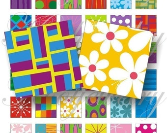 Colorful patterns 1x1 inch for pendant, scrapbook and more collage sheet No.110