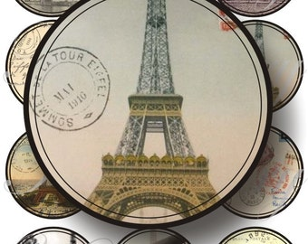 Eiffel Tower images large circles for pocket mirrors and more digital collage sheet No.176