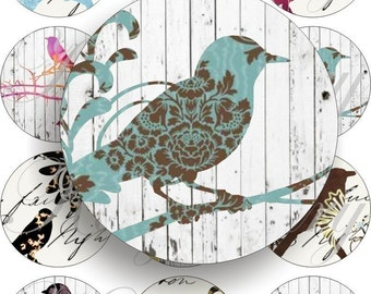 Lovely birds images large circles for pocket mirrors and more digital collage sheet No.183