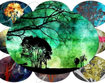 Grunge trees images large oval for belt buckle and more digital collage sheet No.553