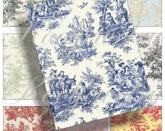 Toile designs for cards, scrapbook and more Digital Collage Sheet 2.5 X 3.2 inch No.216