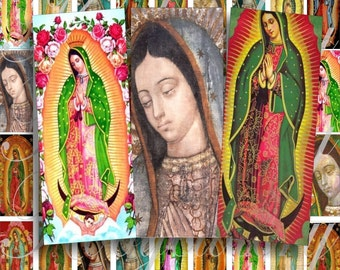 Virgen de Guadalupe size 2 x 1 inches for pendant, scrapbook and more - Digital Collage Sheet No.425