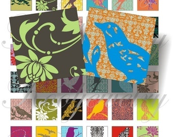 Damask birds 1x1 inch for pendant, scrapbook and more igital collage sheets No.102