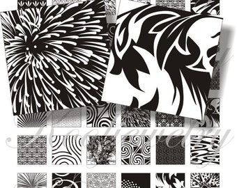 Black and white designs 2 for pendant, scrapbook and more Digial Collage Sheet No.114