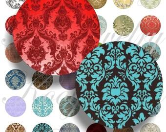 Damask fabrics for bottle caps, pendant, buttons, scrapbook and more Vintage Digital Collage Sheet No.376
