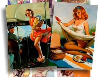 Pinup Girls images for cards, ACEO, ATC, scrapbook and more Digital Collage Sheet 3 X 2 inch No.387