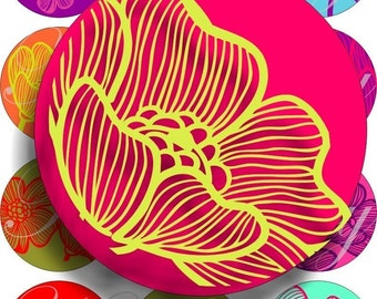 Bright colors flowers in large circles for pocket mirrors and more -digital collage sheet no. 296
