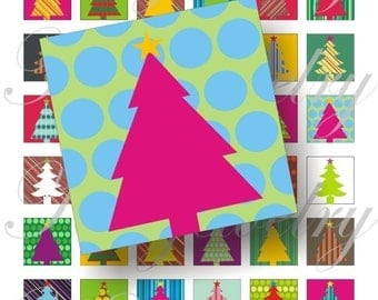 Colorful Christmas trees for pendant, scrapbook and more collage sheet No.97