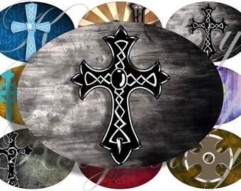 Grunge crosses images large oval for belt buckle and more digital collage sheet No.572