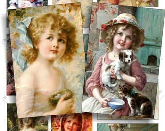 Little cute girls - Emile Vernon images for cards, ACEO, ATC, scrapbook and more Digital Collage Sheet 3 X 2 inch No.445